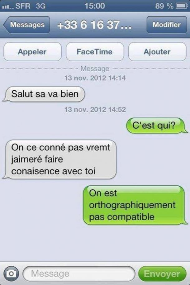 drague orthographe perles des sms