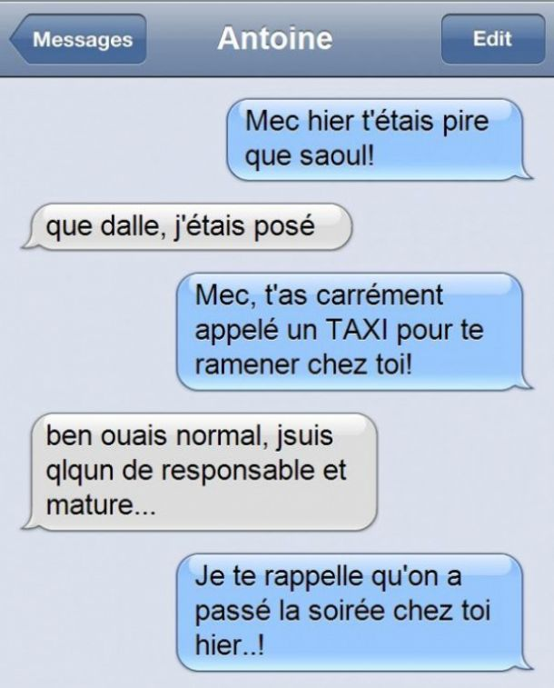 taxi saoul perles des sms