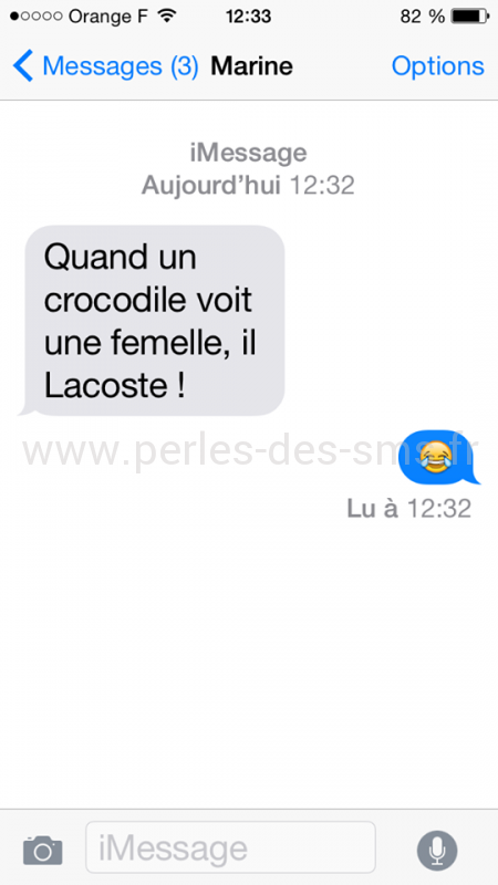 lacoste crocodile humour blague perle sms