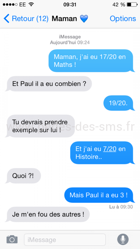 note 17/20 maths perles des sms
