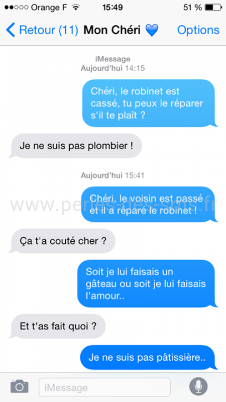 plombier perles des sms